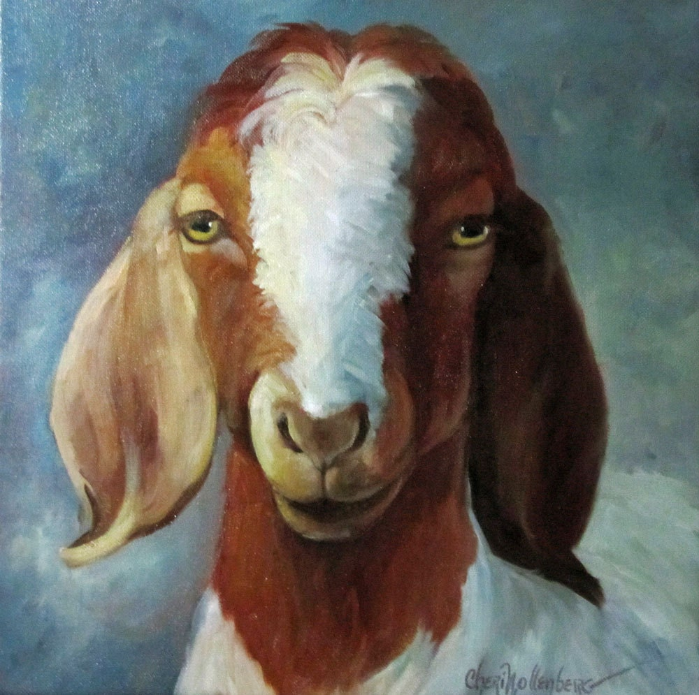 Animal oil painting spotted goat george farmhouse chic for Animal oil paintings