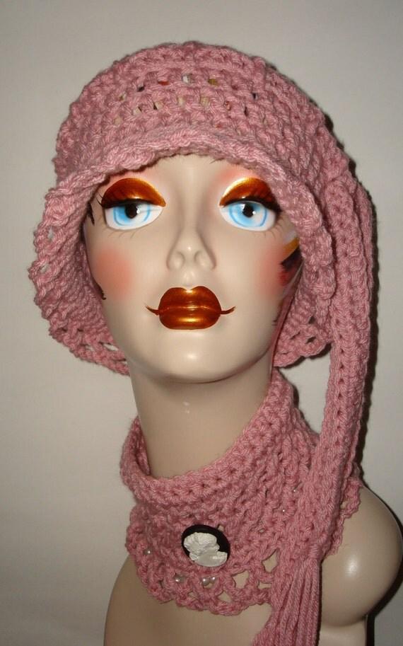 Elegant Hand Crochet Victorian Vintage Style Set I Cloche Hat & Neck Cuff Set/Cloche Hat/Neck warmer/Neck Wrap/Fashion Accessores/Women's