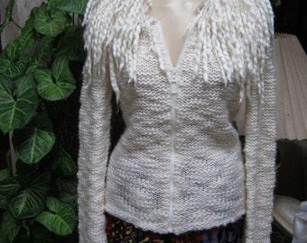 Vintage Soft acrylic wool blend zipper, ivory zip front fringe neck and sleeve sweater, fringed boho sweater size Small