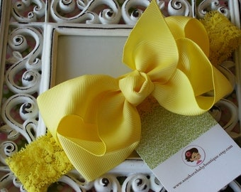 NEW ITEM----Boutique Baby Toddler Girl Hair Bow Clip with Lace Headband----LEMON----