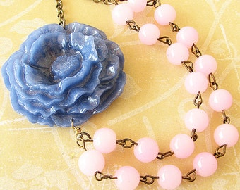 Statement Necklace Flower Necklace Pink Jewelry Blue Necklace Bridesmaid Jewelry Bib Necklace Gift For Her