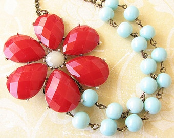 Flower Necklace Statement Necklace Bridesmaid Jewelry Bib Necklace Red Jewelry Aqua Necklace Beaded Necklace