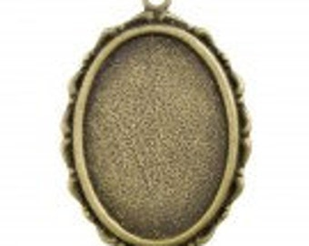 Glue in Cabochon Settings, Flat Oval, Antique Brass, inner size of 26x18.5mm