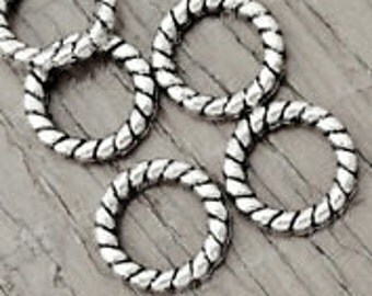 Ring Links Antique Silver 10x10x2mm, 6mm Hole Sold per pkg of 40 Pieces