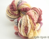 Petals, Naturally Dyed wool, CoilSpun BeeHive Art Yarn, HandSpun HandDyed Yarn, 37 yards