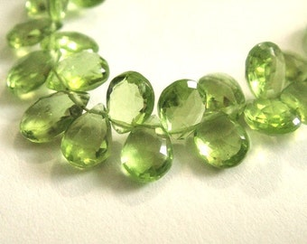 PERIDOT Briolettes, Faceted Pear Brios, Brides -2 MATCHED PAIRS,  August Birthstone,  Wholesale Beads, 7x5mm, 4pc
