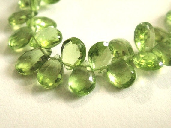 Peridot Briolettes Faceted Pear Brios Brides 2 Matched