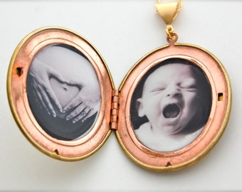 Vintage Locket with Custom Permanent Picture Photograph Placement Included
