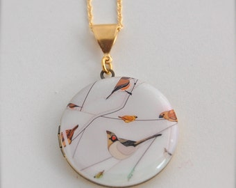 Art Locket Vintage Inspired Abstract Birds on Branches Necklace