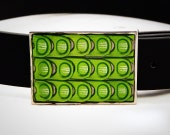 Upcycled Lime Green Soda Pop Tab Inlay Belt Buckle