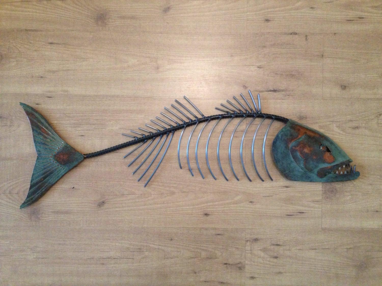 Chops metal fish sculpture beach coastal by sallenbachfishart for Fish wall art