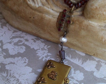 French Country Living- Vintage Assemblage Souvenir Locket Necklace