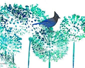 Stellar Jay, Monochromatic Digital Watercolor Art, Blue Bird, Allium Flowers, Wildlife Garden, Wall Hanging, Home Decor, 8 x 10 Giclee Print