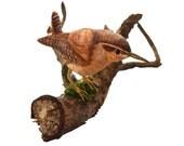 Wren Wooden bird sculpture - handpainted in water colors,bird watchers gift,mothersday,wedding