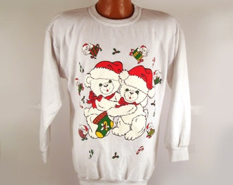 Ugly Christmas Sweater Vintage Sweatshirt Teddy Bear Love Tacky Holiday