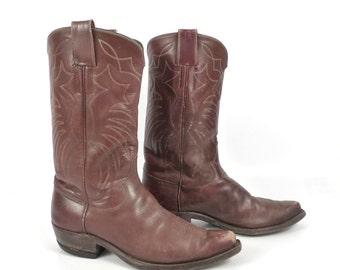 Hyer Cowboy Boots Vintage 1980s Rich Brown Men's size 7 1/2