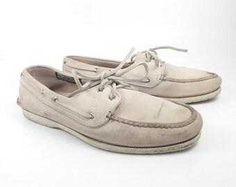 Boat Shoes Vintage 1980s Dexter Dex White Leather Women's 10 M
