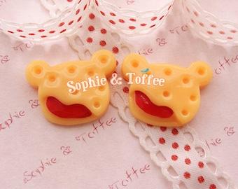 Bear Cookie Raspberry Kawaii Cabochon Decoden Sweets Deco - 5pcs