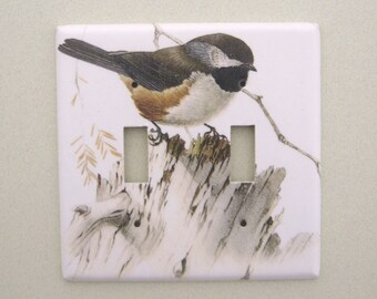 Chickadee bird - double - light switch cover switchplate