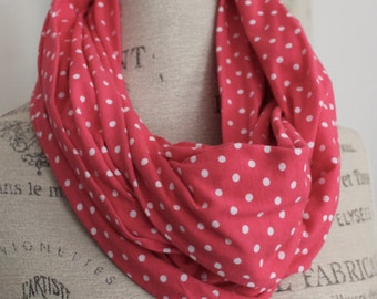pink polka dots soft jersey knit infinity scarf