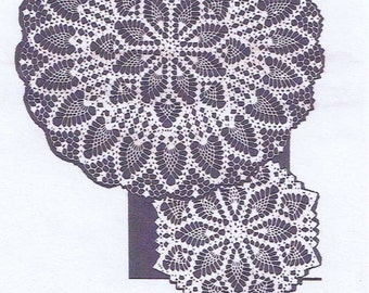 Vintage Crochet PATTERN 877 Two matching Doilies in 3 sizes PDF instant download