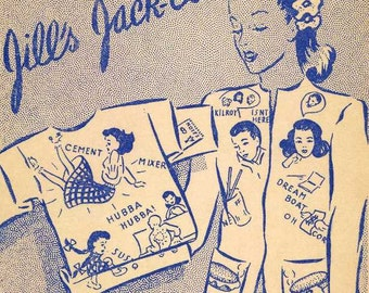 901 Hand Embroidery PATTERN Hep Cat Dream Boat Hubba Hubba 1940s PDF Instant Download