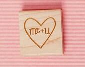 Art stamp--Me + U in heart