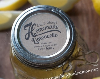 Set of 20 Customized mason Jar label printed on brown kraft paper stickers 2 inches homemade limoncello, lemonade, lemon scrub, salts etc...