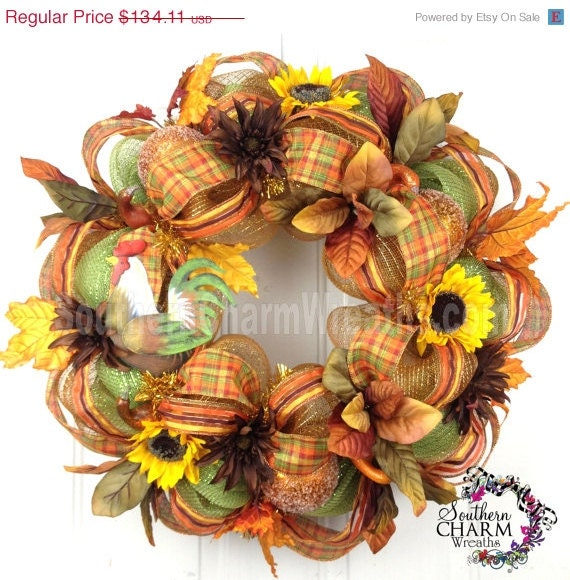Deco Mesh Fall Wreath For Door Or Wall By Southerncharmwreaths