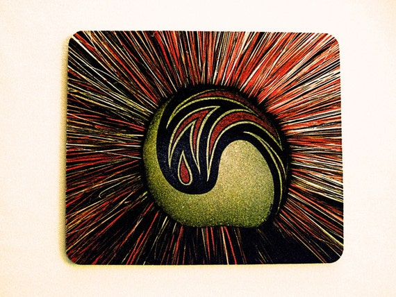Stylish Mouse Pad for Office or Home Office.  Striking Star Burst Photo in Red, Rust, Gold, and Black.