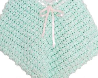 Crochet Poncho Baby Iced Mint Bobble Stitch Poncho