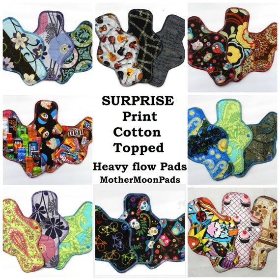 Reusable Cloth Pads - Heavy Flow - Surprise Print Cotton Woven Cloth Pad Set by MotherMoonPads
