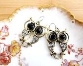 Elegant Country Owl Rhinestone Charm Earrings