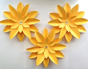 Large Paper flower for gifts, weddings or placesetting set of 3 In any color