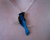 Tiny blue jay on a branch in bronze with patina on sterling silver chain