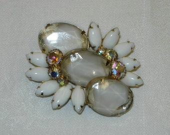 Vintage White Brooch or Pin with Aurora Borealis Glass Stones