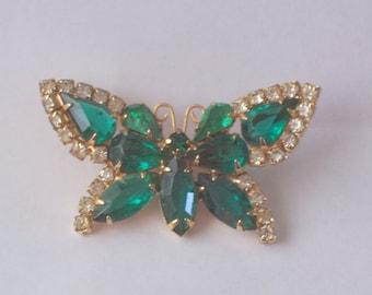 Vintage Emerald Green Rhinestone Butterfly Brooch or Pin