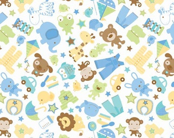 Snips and Snails Main White by Doodlebug for Riley Blake - 1 Yard