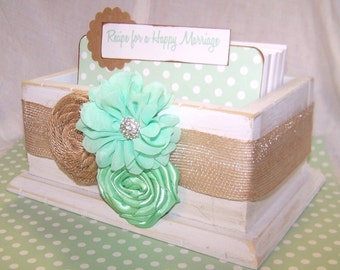 Guest Book Box, Recipe for a Happy Marraige Box, Divider and Insert Cards, Bridal Shower, Distressed White Box, Mint Green, Burlap