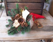 CiJ Primitive Grungy Christmas Santa Hat Candle Lamp Floral Arrangement Rustic Welcome Light OFG HAFAIR FAAP
