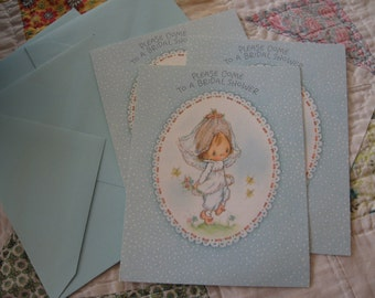 Three Sweet Vintage Bridal Shower Invitations from Hallmark and Betsey Clark