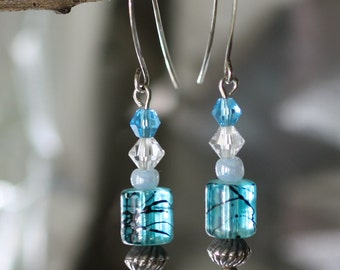 Turquoise Glass and Swarovski Crystal Earrings