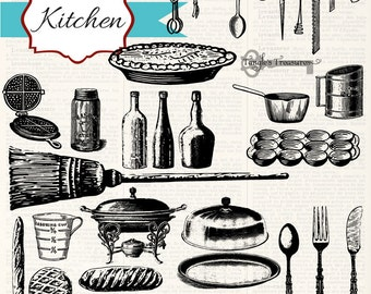 Instant Download - Vintage Kitchen, digital clip art and photoshop brushes: Commercial and Personal Use