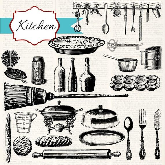 Vintage Kitchen Utensils Images: Instant Download Vintage Kitchen Digital Clip Art And