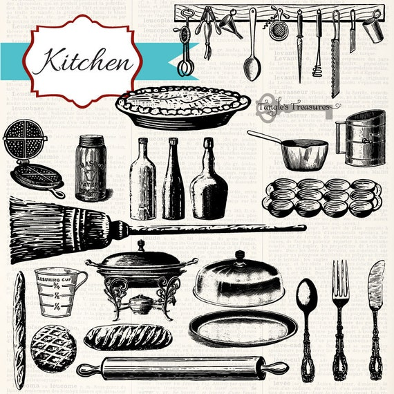 Kitchen Design Clip Art: Instant Download Vintage Kitchen Digital Clip Art And