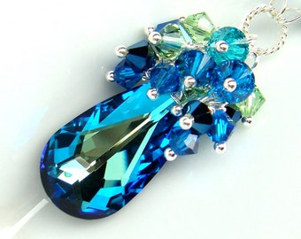 Peacock Bermuda Blue Necklace Cluster Pendant Swarovski Crystals Sterling Silver Bridal Bridesmaids Wedding Jewelry Wire Wrapped Sapphire