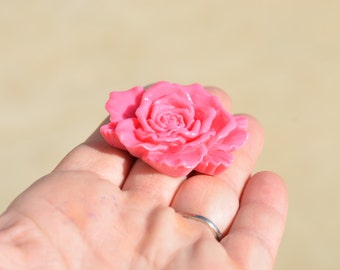 1 Pink Resin Flower Cabochons 48mm F229