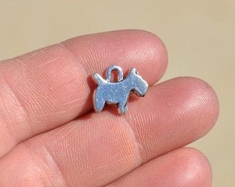 BULK 50  Silver Little Dog Charm SC3904