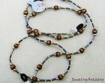 Beautiful Eyeglass Chain/Lanyard - Handmade with Wood Beads & Copper by JewelryArtistry - L164