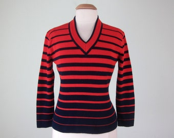 60s sweater/ navy & red striped v-neck knit top (s - m)